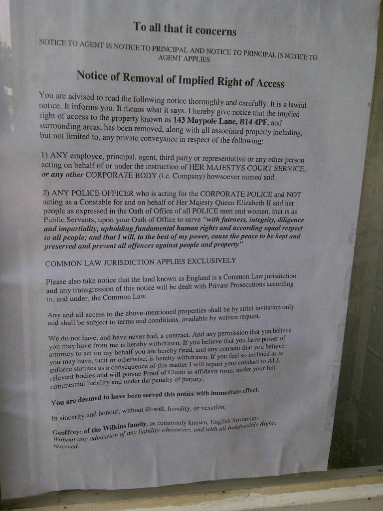 Notice of Removal of Implied Right of Access